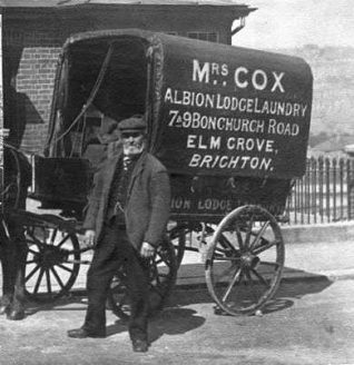 Photo of Mrs Cox's laundry van and driver | From the private collection of Joan Considine