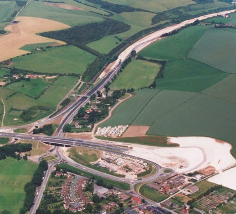 Aerial view of the construction of the bypass A23 junction, 1991 | Picture contributed on 11-05-04 by Ian McKenzie, from private collection