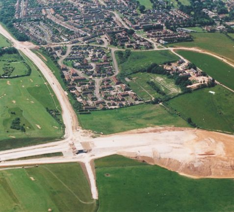 Aerial view of the construction of the bypass, 1991 | Picture contributed on 11-05-04 by Ian McKenzie, from private collection