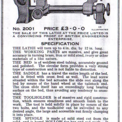 Wade Lathe c. 1926   From the private collection of Peter Groves