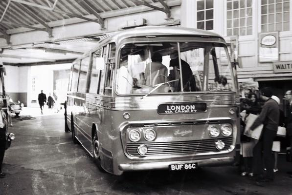 A Southdown Leyland coach about to leave for London, summer 1967 | From the private collection of Martin Nimmo