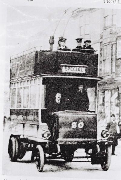 What might have been; Tramways Manager William Marsh takes the wheel on an early demonstration trolleybus in London Road in 1913 | From Martin Nimmo's private collection