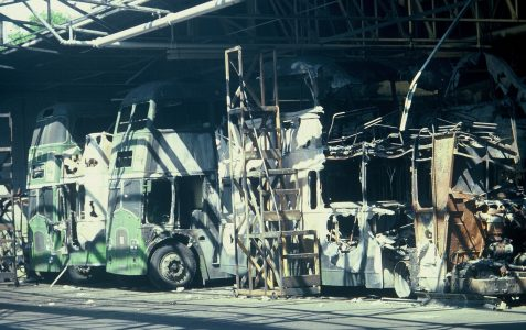 Bus Garage Fire in the 1970s