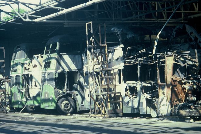The damaged buses after the fire | From the private collection of Martin Nimmo