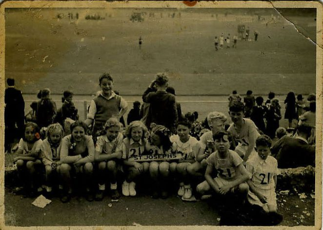 Sports Day - I think my sister Carol Burns is the third from left, wearing plaits.  In the 50's possibly. | From the private collection of Penny Hajduk
