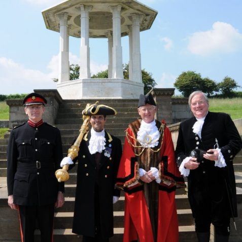 The High Sherrif of East Sussex Hugh Burnett, the Mayor's Mace Bearer Robert Robertson, The Mayor, Councillor Garry Peltzer Dunn and the Vice Lord Lieutenant Peter Field | Photo by Tony Mould