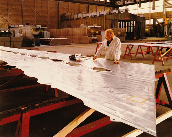 Inspection of Wing Skins after machining | From the private collection of Pat Bates