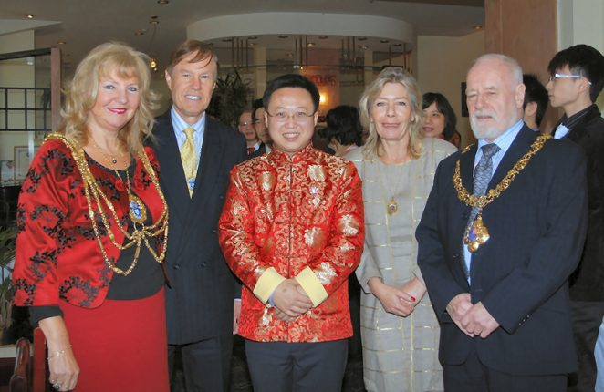 The Mayor, Councillor Carol Theobald, Councillor Geoffrey Theobald, Mr Xuexian Bei, Mayor of Lewes' consort, Mayor of Lewes, Councillor Jim Daley | Photo by Tony Mould