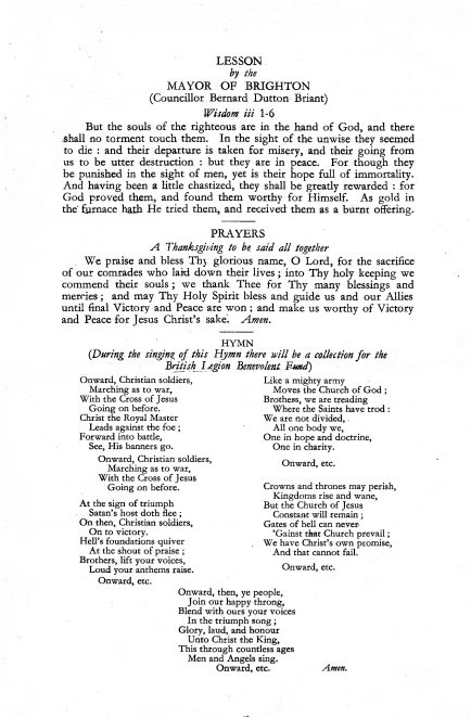 Remembrance Sunday 1943: order of service | From the private collection of Alan Spicer