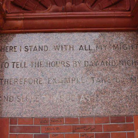 Preston Park Clock Tower inscription | Photo by Tony Mould