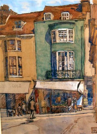 11 and 12, St. James's Street viewed from Charles Street | Original painting by Grace Marion Collcutt. Reproduced with kind permission of Roy Pateman