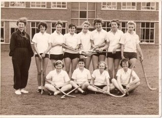 Cottesmore St. Mary's Hockey Team, c.1957, Jillian back row right hand end. | From the private collection of Jillian Foley