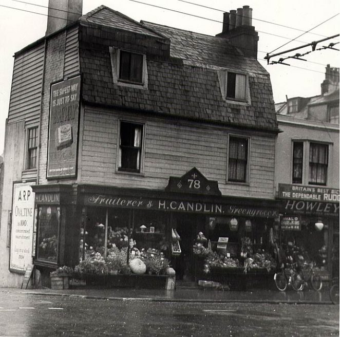 H. Candlin, greengrocer and fruiterer at the corner of Rock Place and St James's Street (this shop is listed in a street directory in 1927 - date of photo is unknown) | Image produced with permission from Brighton History Centre.  Added at the Brighton History Centre on 01-06-04.