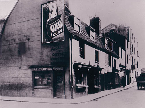Carlton Hill, early photo. Early Coffee House with Oxo poster. | Image reproduced with permission from Brighton History Centre