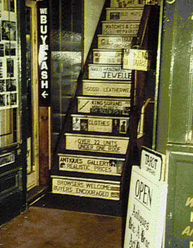 Stairs in a shop in The Laines