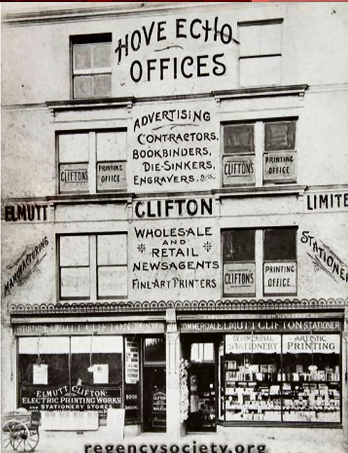 Offices of the Hove Echo in Church Road Hove. | Image reproduced with kind permission of The Regency Society and The James Gray Collection