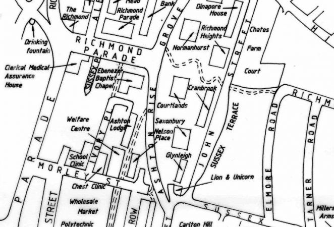 Albion Hill area after redevelopment | Map produced by Tim Carder