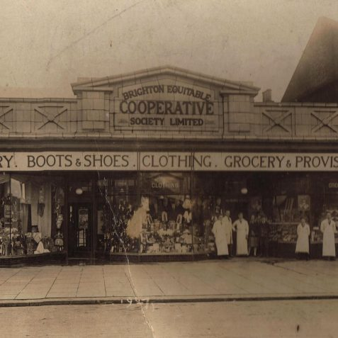 Harry Upward (3rd from left) at the Co-Op Boundry Road Portslade c.1927 | From the private collection of Keith Upward