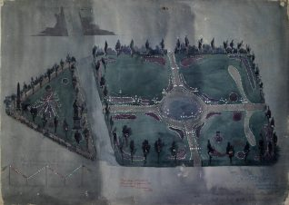 Plan of the illuminations at the Pavilion and the Old Steine, by Pain and Son to celebrate Queen Victoria's Diamond Jubilee; May 1897 | East Sussex Record Office reference DB/D46/638