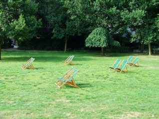 Empty deckchairs in the Pavilion Gardens | Photo by Terry Nye