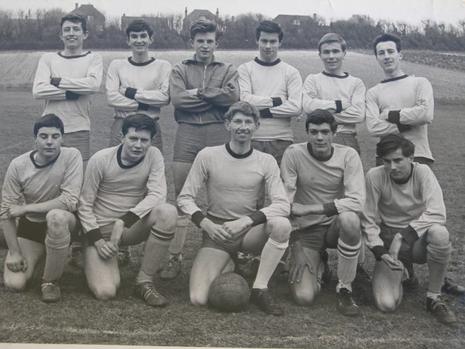 1964-65 1st X1 v Hove Corinthians : Team members of the 1964-65 photo v Hove Corinthians  Back Row: left to right: Mick? Mills, Ken Bridle, Dud Whittaker, Graham Tate, John Draper, John Sullivan.  Front Row: Alan Barnard, Andy? Slater, Ivor Mills, Geoff Garland, Alan Brackley. | From the private collection of Dudley Whittaker