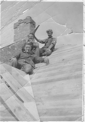This was taken on the roof of a half built house in Baranscraig Avenue in 1933, and from top to bottom the men are: