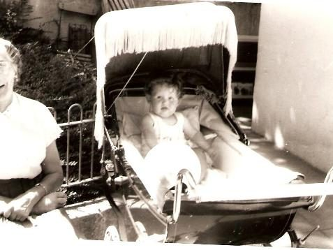 David Sewell in the pram at the Pavilion Gardens Cafe in 1961 | From the private collection of Herbert Tennent