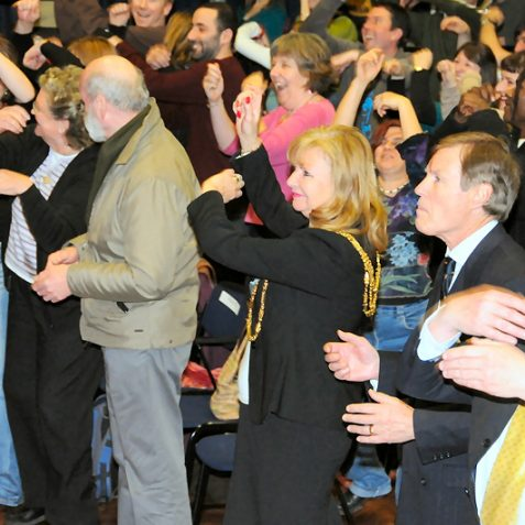 Mayor Carol Theobald learns to 'boogie on down'   Photo by Tony Mould