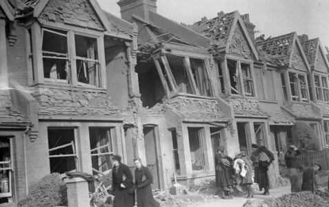 Damaged houses in Lowther Road 1943