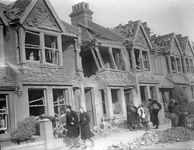 Damaged houses in Lowther Road 1943. Click on image to open a large version in a new window | Royal Pavilion and Museums Brighton and Hove