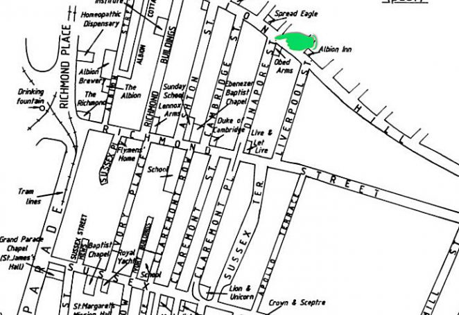 Map of Albion Hill area prior to redevelopment showing Dinapore Street | Map by Tim Carder