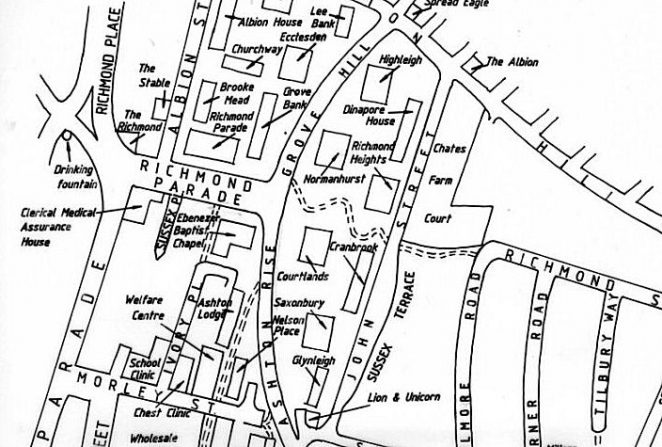 Map of the Albion Hill area after redevelopment in the 1960s | Map by Tim Carder