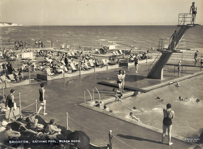 Black Rock Swimming pool showing the diving boards | Royal Pavilion and Museums Brighton and Hove