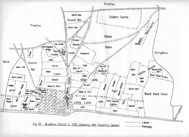 Parish of Brighton in 1792 showing the tenantry laines | Reproduced with permission from the Encyclopaedia of Brighton by Tim Carder, 1990