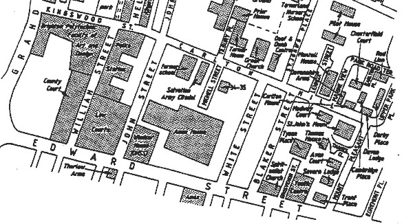 Carlton Hill/Edward Street area in 1990 | Map reproduced with permission from the Encyclopaedia of Brighton by Tim Carder