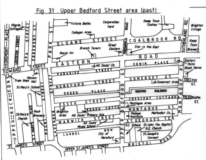 Edward Street area before redevelopment | Reproduced with permission from the Encyclopaedia of Brighton by Tim Carder, 1990