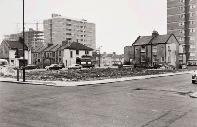 A photograph of 2 March 1969, when the Conway Street project of redevelopment had been established for a few years. The view is from the corner of Ellen Place looking to Ellen Street and Clarendon Road, showing the completed flats Ellen House and Goldstone House. | Image reproduced with kind permission of The Regency Society and The James Gray Collection