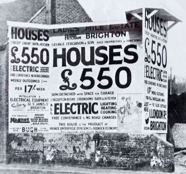 Estate agent advertising board mid 1930s: click on the image to open a large version in a new window | Image reproduced with kind permission of The Regency Society and The James Gray Collection