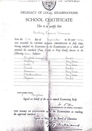 Tony Simmonds' School Certificate | From the private collection of Tony Simmonds