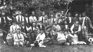 William Cowley (centre with gun) of Grange Farm with his workers c1895 | From the private collection of Jennifer Drury