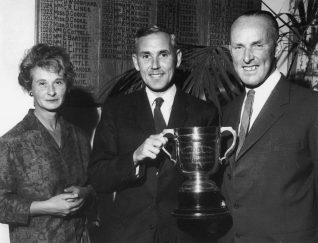 John Sparks pictured winning the Festival Cup between Mr & Mrs Jack Douglas Winners of the Brighton Open Mixed Pairs 1962 | HPGC Archive