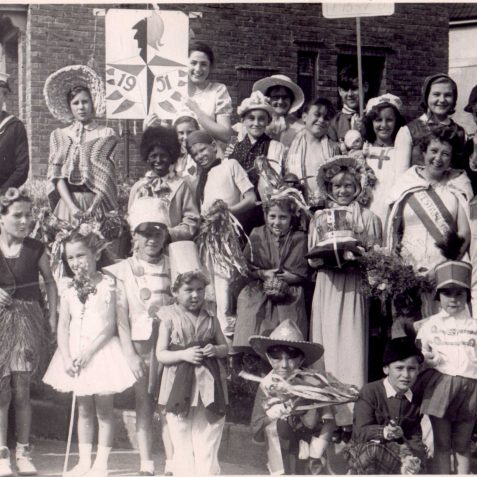 In this photograph are most of the entrants for the Fancy Dress competition for those who lived in Maresfield Road | From the private collection of Douglas Greenow