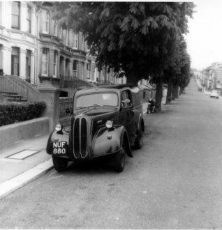 My Ford Prefect van outside our house c.1963 | Photo by John Desborough