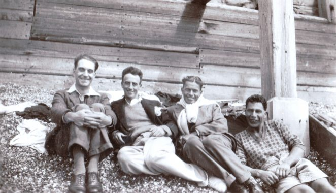 From the left Bertie Mott, Bertie Boast, unidentified, Lewis Sharp | From the private collection of Pam Manasseh