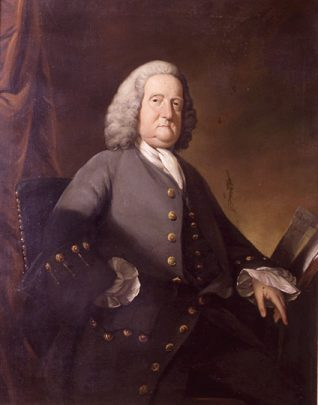 Dr Richard Russell, FRS By Benjamin Wilsonc1755. This is a portrait of Dr Richard Russell who made Brighton famous in the seventeenth century with his 'seawater cure'; this included bathing in the sea for medicinal purposes and drinking pints of seawater in prescribed doses. In this picture Russell sits in half right profile, he wears a grey wig, a grey coat with gold buttons and white cuffs. He has a book open next to his left hand.