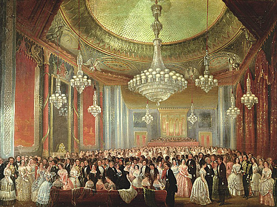 This painting shows the Music Room in the Royal Pavilion thronged with people for the Grand Re-Opening in 1851. | Reproduced courtesy of Royal Pavilion & Museums, Brighton & Hove