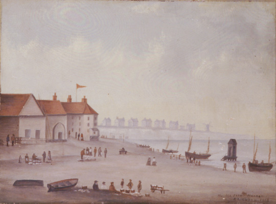 This painting of Brighton beach in the nineteenth century shows several building with red roofs to the left of the picture. On the beach figures can be seen doing standing around baskets of fish and gathering nets. In the foreground several figures sit by the boats. On the right is the sea with several baots and a bathing machine. In the distance there are houses and a windmill against the skyline. | Reproduced courtesy of Royal Pavilion, Libraries & Museums, Brighton & Hove