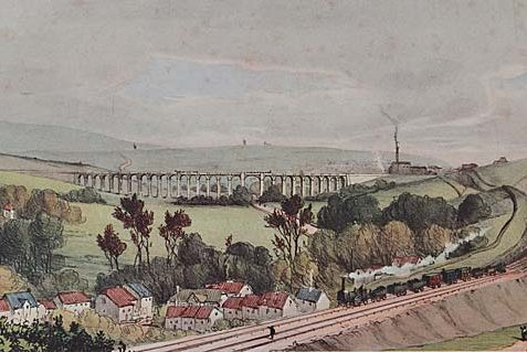 The print well conveys the way the railway destroyed the order and tranquillity of the countryside by the 'invasion of land'. The train thundering through the still rural village of Preston forms a poignant juxtaposition of past and future. | Reproduced courtesy of Royal Pavilion, & Museums, Brighton & Hove