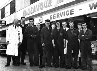Staff at the Endeavour Motor Company 1964 : click on the image to open a large version in a new window | From the private collection of Christopher Wrapson