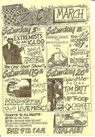 The Zap Club March flyer   Image from Alison Clough